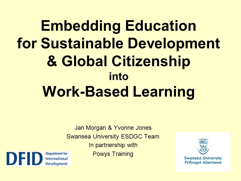 Embedding Education for Sustainable Development & Global Citizenship into Work-Based Learning