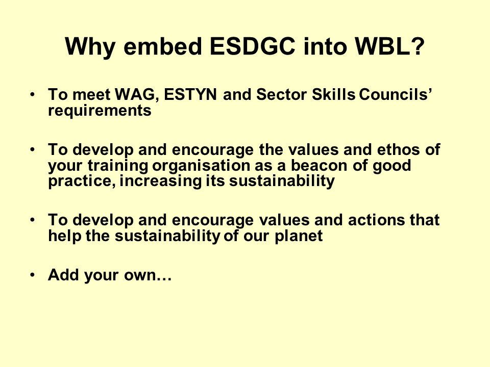 Why embed ESDGC into WBL