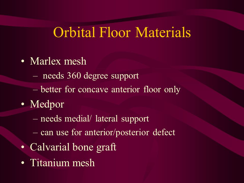 Orbital Floor Materials
