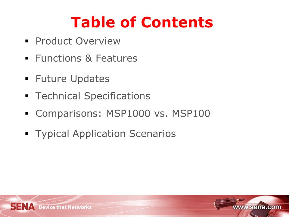 Table of Contents Product Overview Functions & Features Future Updates