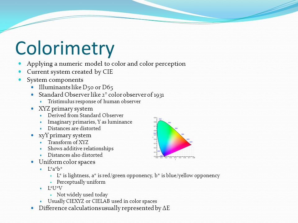 Colorimetry Applying a numeric model to color and color perception