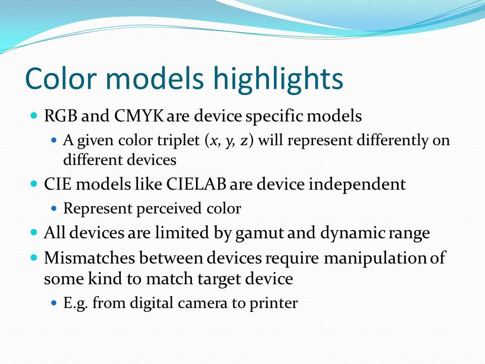 Color models highlights
