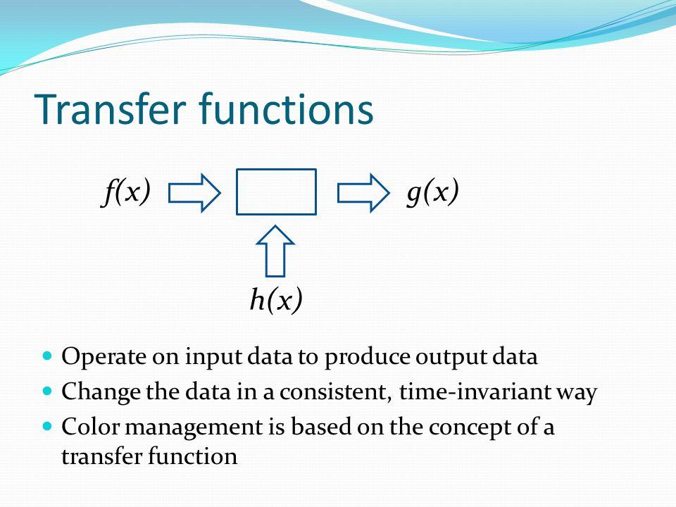 Transfer functions f(x) g(x) h(x)