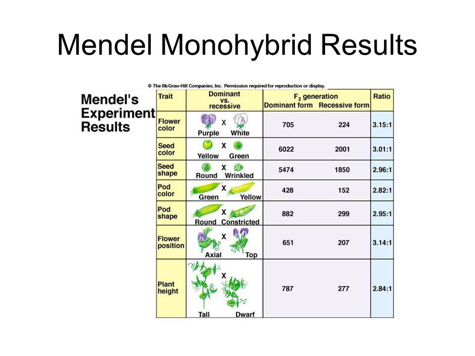 Mendel Monohybrid Results