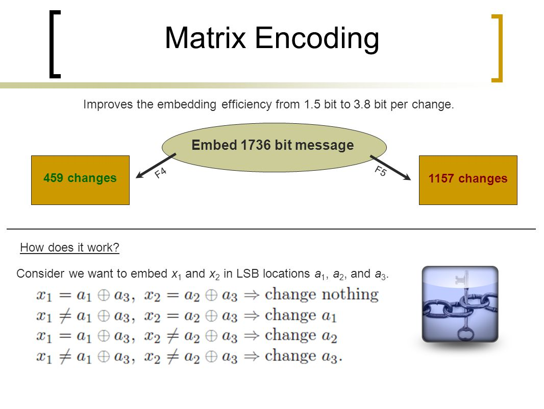 Improves the embedding efficiency from 1.5 bit to 3.8 bit per change.