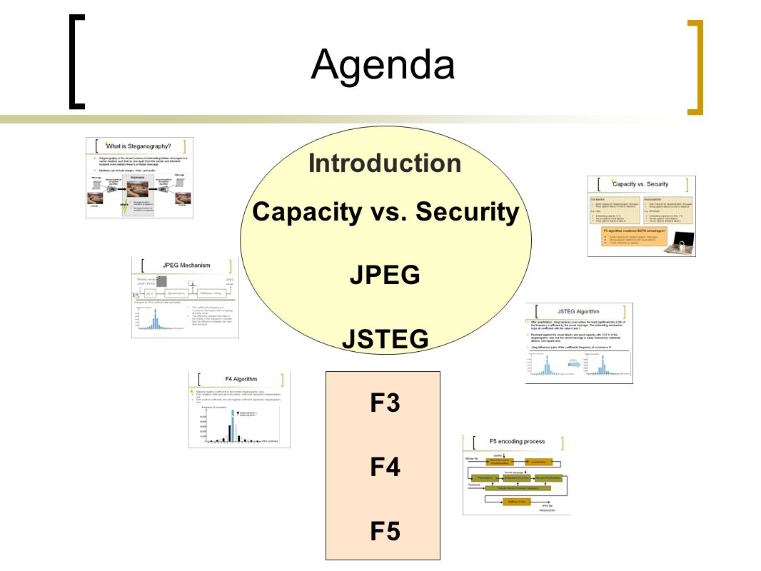 Agenda Introduction Capacity vs. Security JPEG JSTEG F3 F4 F5