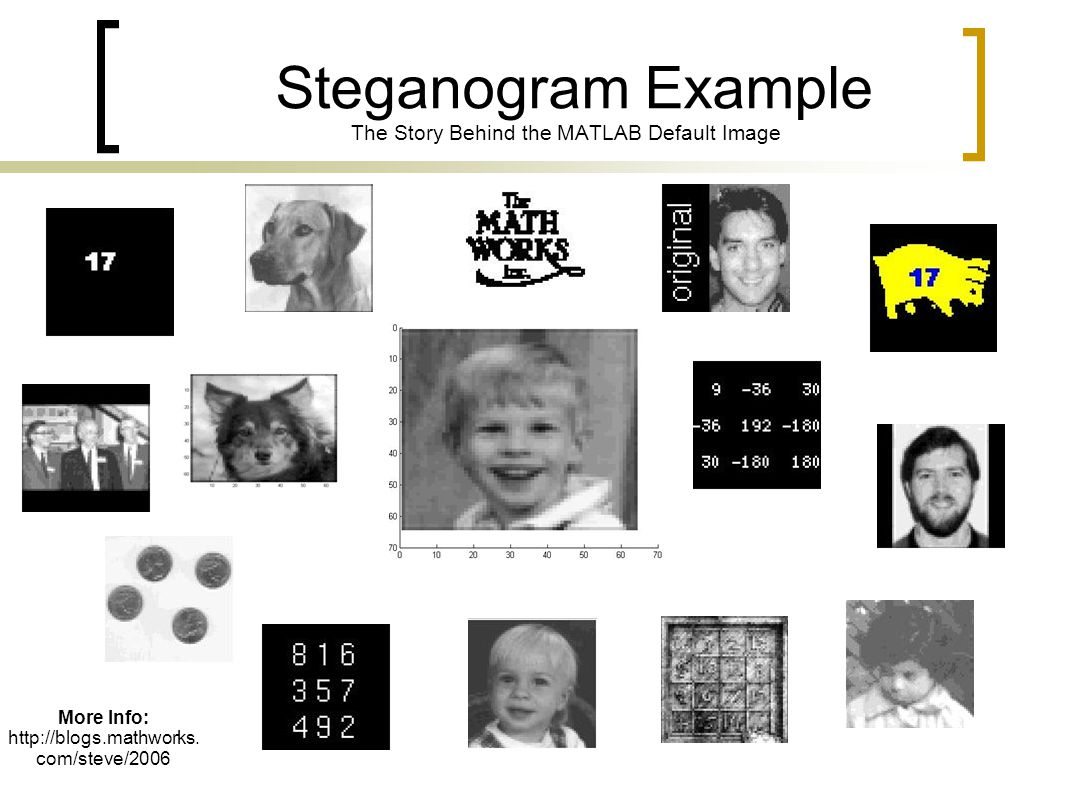 Steganogram Example The Story Behind the MATLAB Default Image