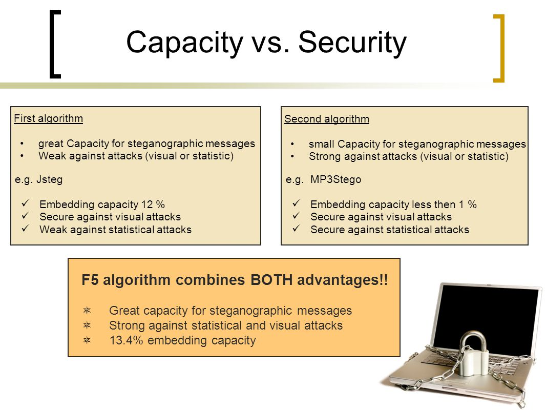 Capacity vs. Security F5 algorithm combines BOTH advantages!!