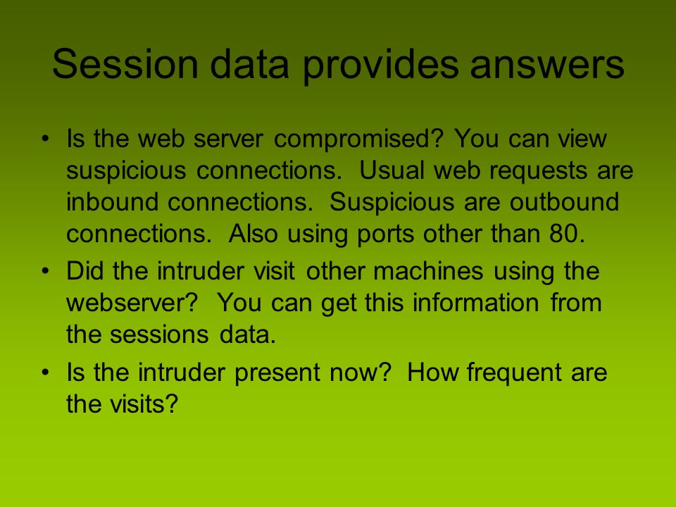 Session data provides answers