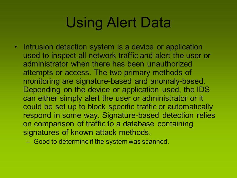 Using Alert Data