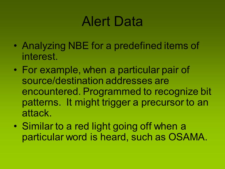 Alert Data Analyzing NBE for a predefined items of interest.