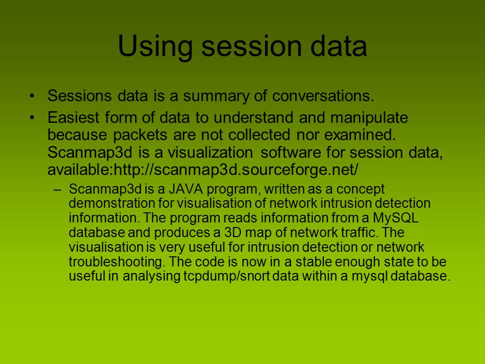 Using session data Sessions data is a summary of conversations.