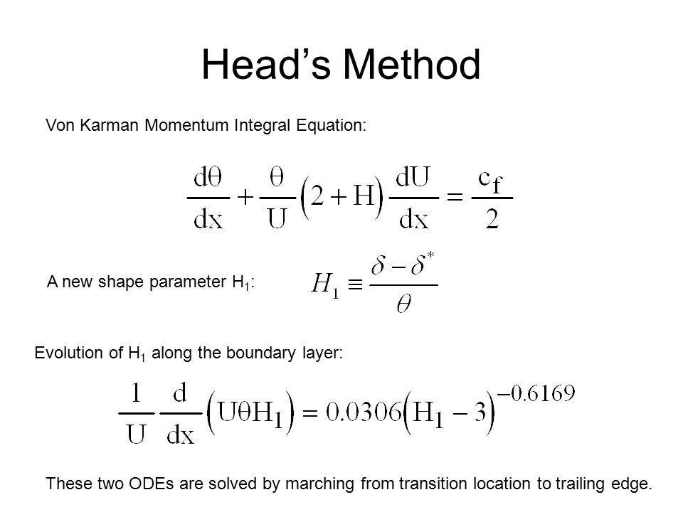 Head's Method Von Karman Momentum Integral Equation: