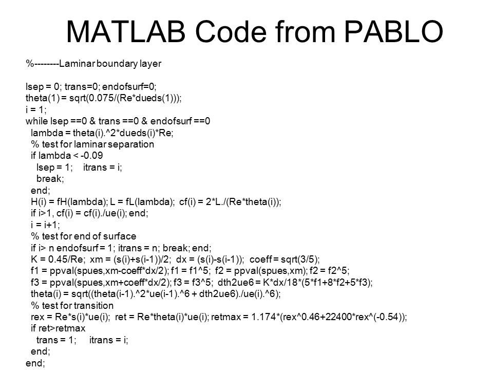 MATLAB Code from PABLO %--------Laminar boundary layer