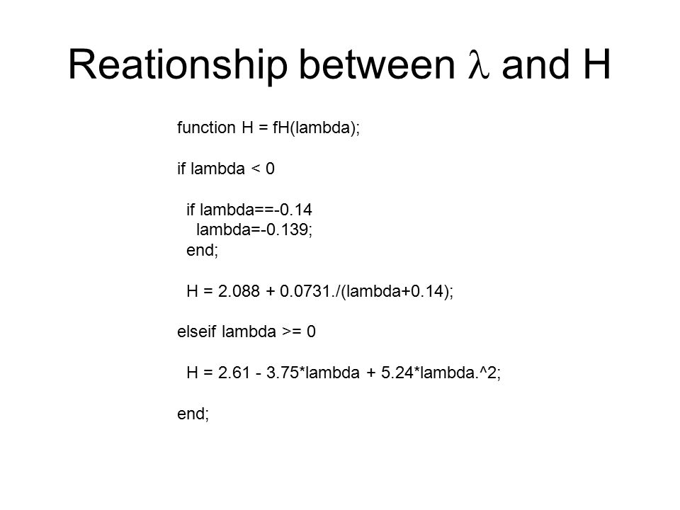 Reationship between l and H