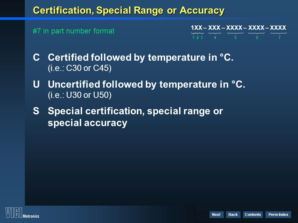 Certification, Special Range or Accuracy