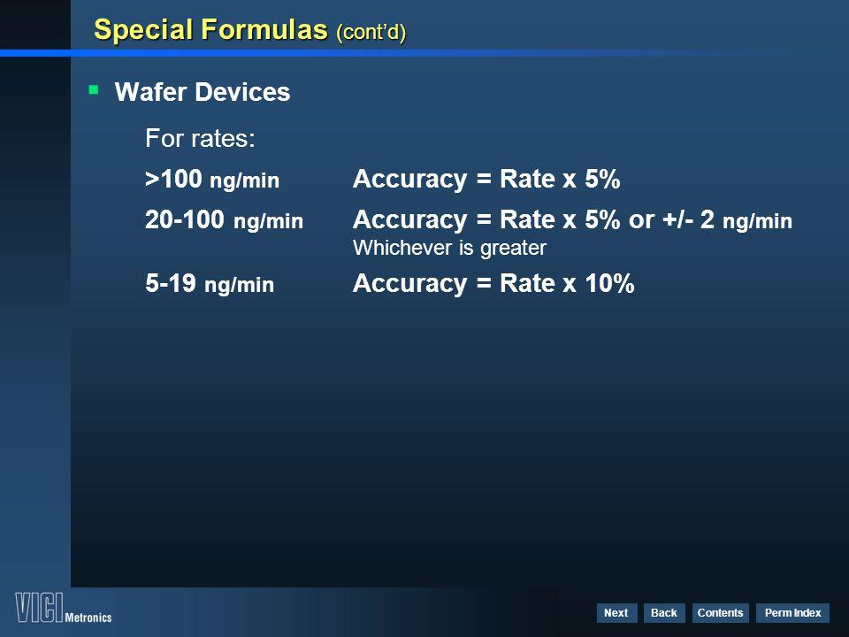 Special Formulas (cont'd)