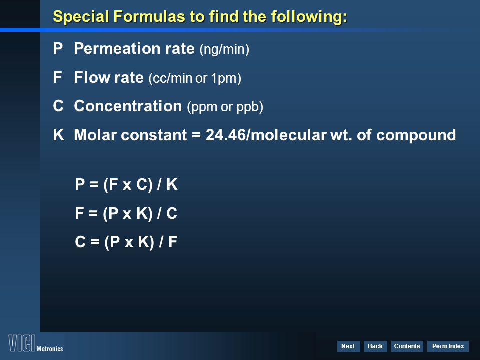 Special Formulas to find the following:
