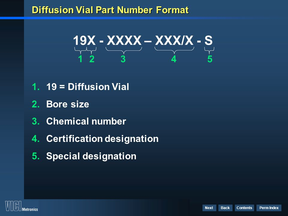 Diffusion Vial Part Number Format