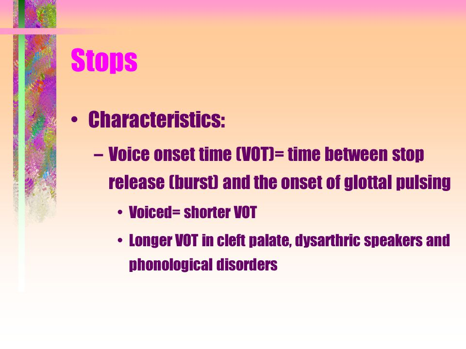Stops Characteristics: