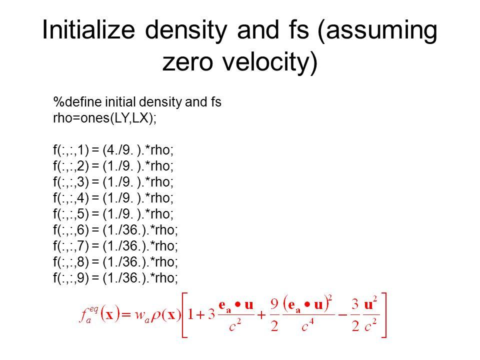 Initialize density and fs (assuming zero velocity)
