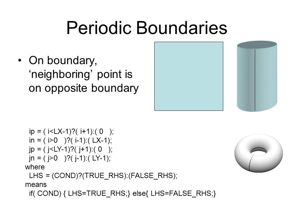 Periodic Boundaries On boundary, 'neighboring' point is on opposite boundary. ip = ( i<LX-1) ( i+1):( 0 );