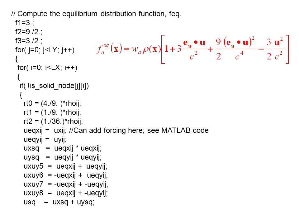 // Compute the equilibrium distribution function, feq.