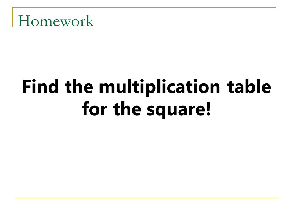 Find the multiplication table for the square!