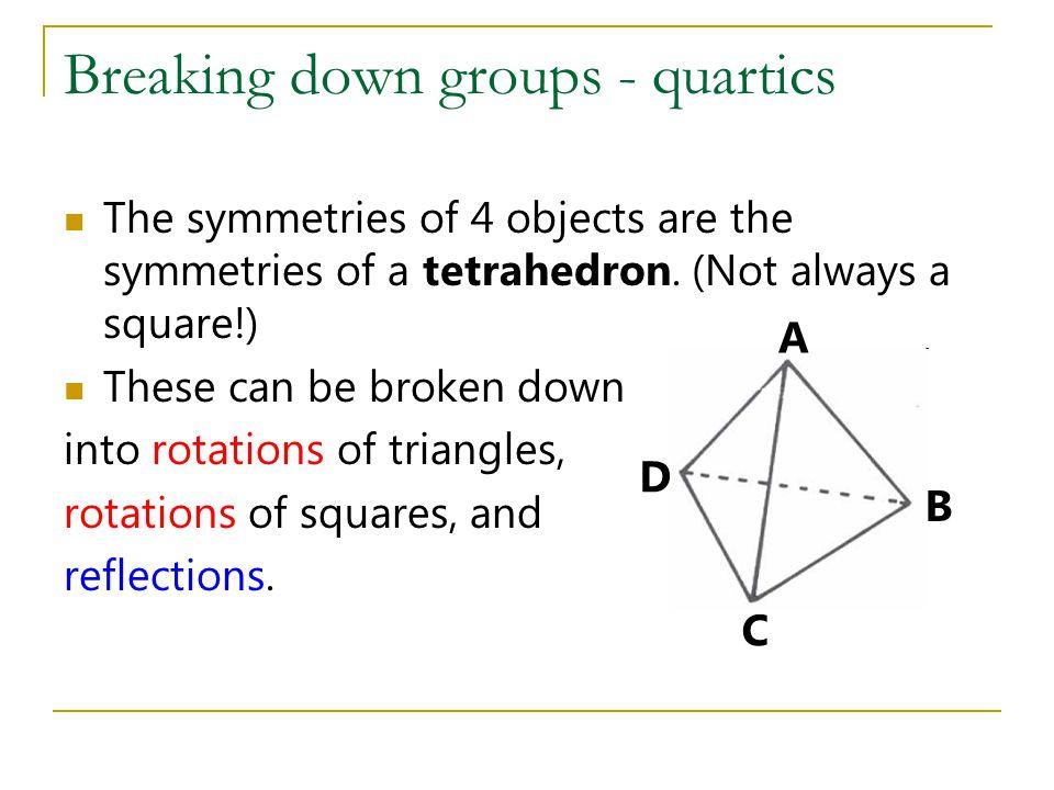 Breaking down groups - quartics