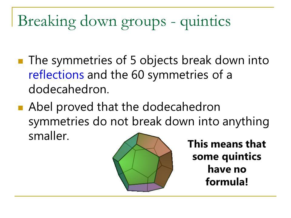 Breaking down groups - quintics