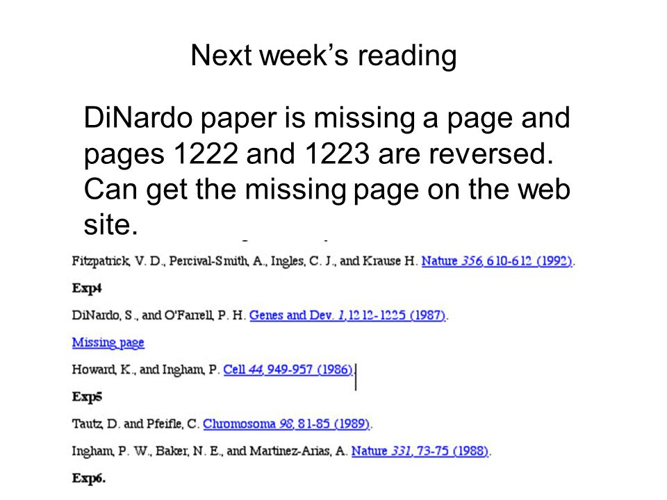 Next week's reading DiNardo paper is missing a page and pages 1222 and 1223 are reversed.