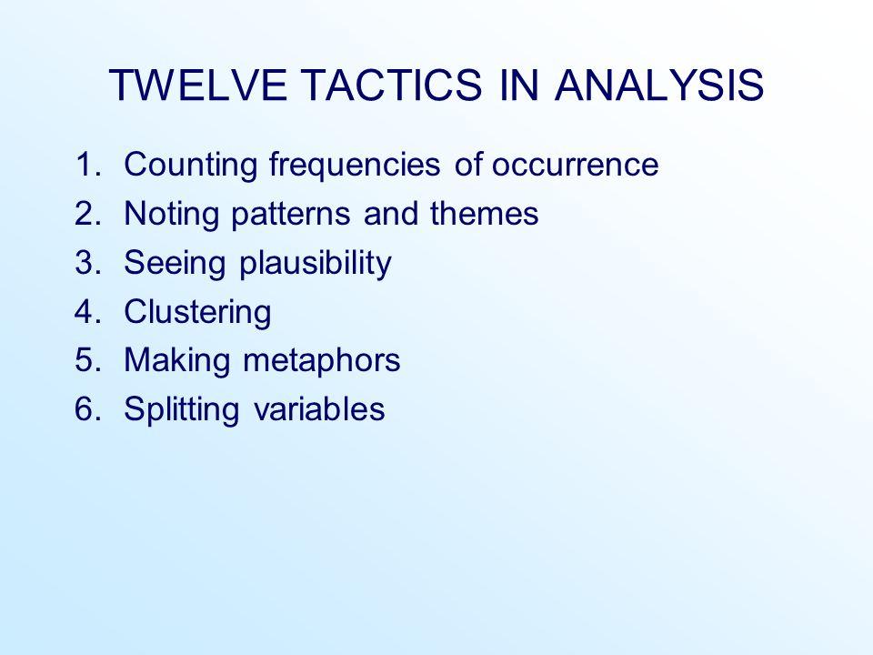 TWELVE TACTICS IN ANALYSIS