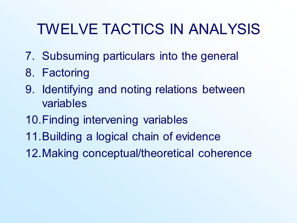 TWELVE TACTICS IN ANALYSIS