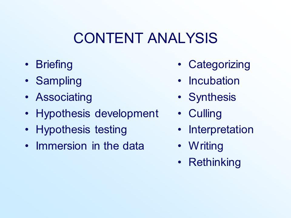 CONTENT ANALYSIS Briefing Sampling Associating Hypothesis development