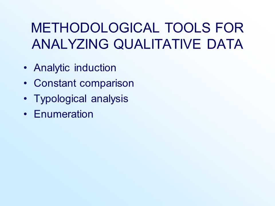 METHODOLOGICAL TOOLS FOR ANALYZING QUALITATIVE DATA