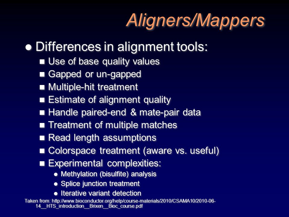 Aligners/Mappers Differences in alignment tools:
