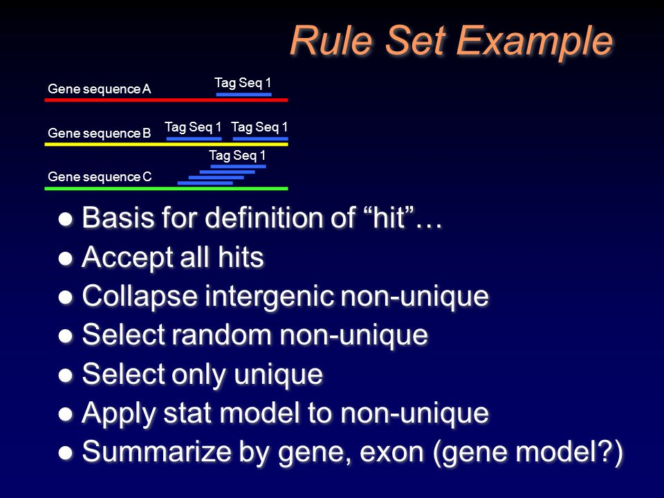 Rule Set Example Basis for definition of hit … Accept all hits