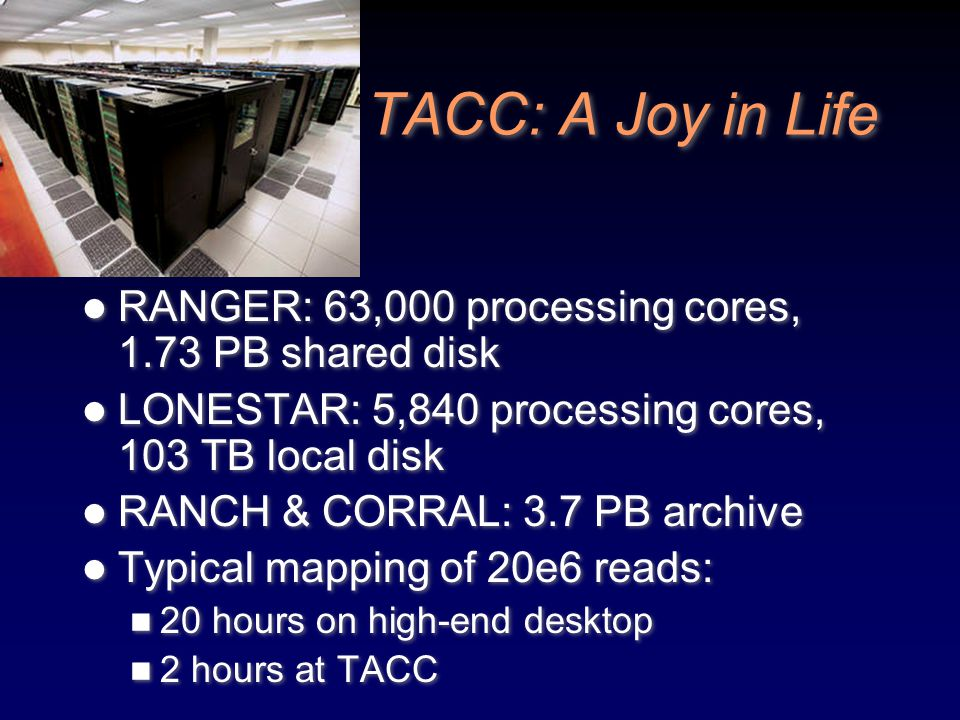 TACC: A Joy in Life RANGER: 63,000 processing cores, 1.73 PB shared disk. LONESTAR: 5,840 processing cores, 103 TB local disk.