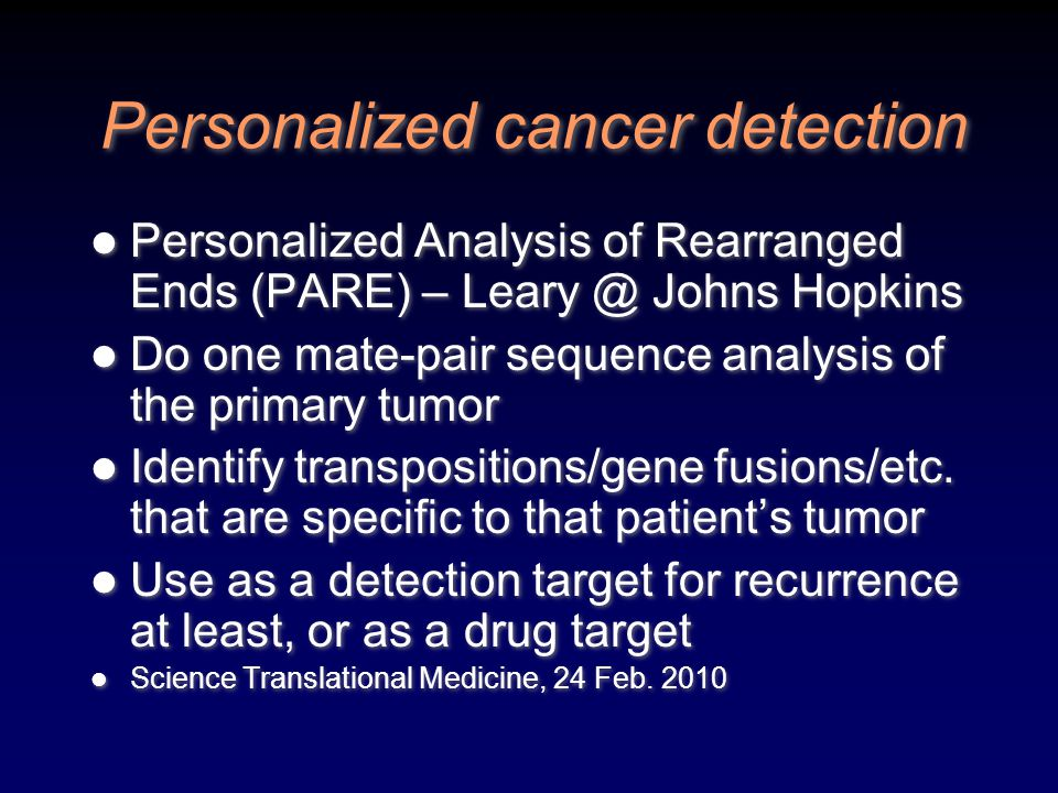 Personalized cancer detection