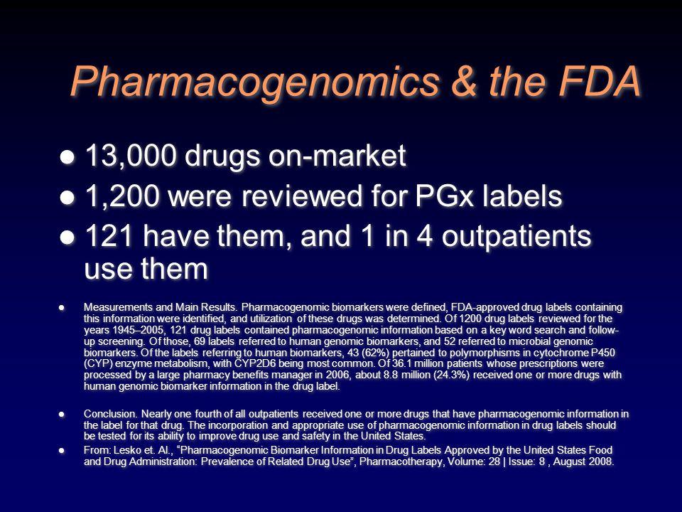 Pharmacogenomics & the FDA