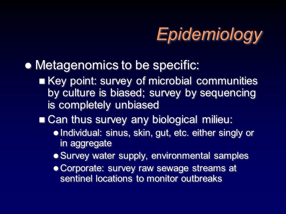 Epidemiology Metagenomics to be specific: