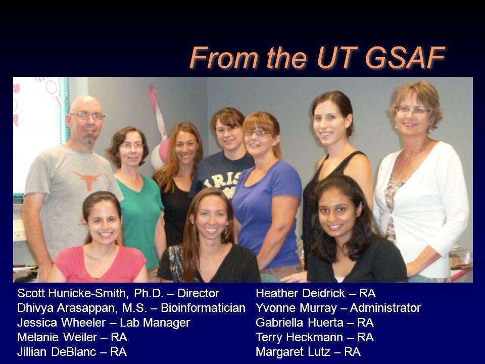 From the UT GSAF Scott Hunicke-Smith, Ph.D. – Director