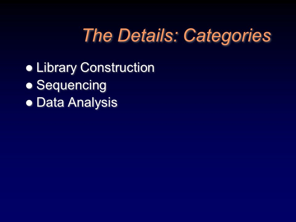 The Details: Categories