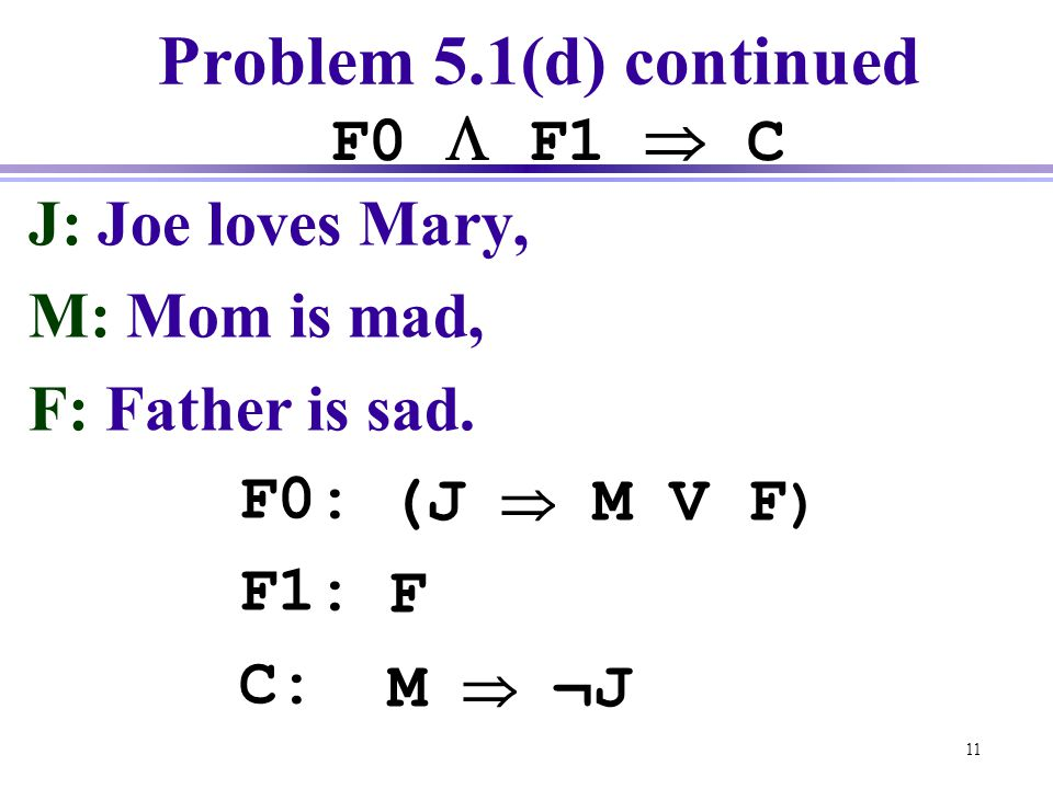 Problem 5.1(d) continued F0  F1  C J: Joe loves Mary, M: Mom is mad,