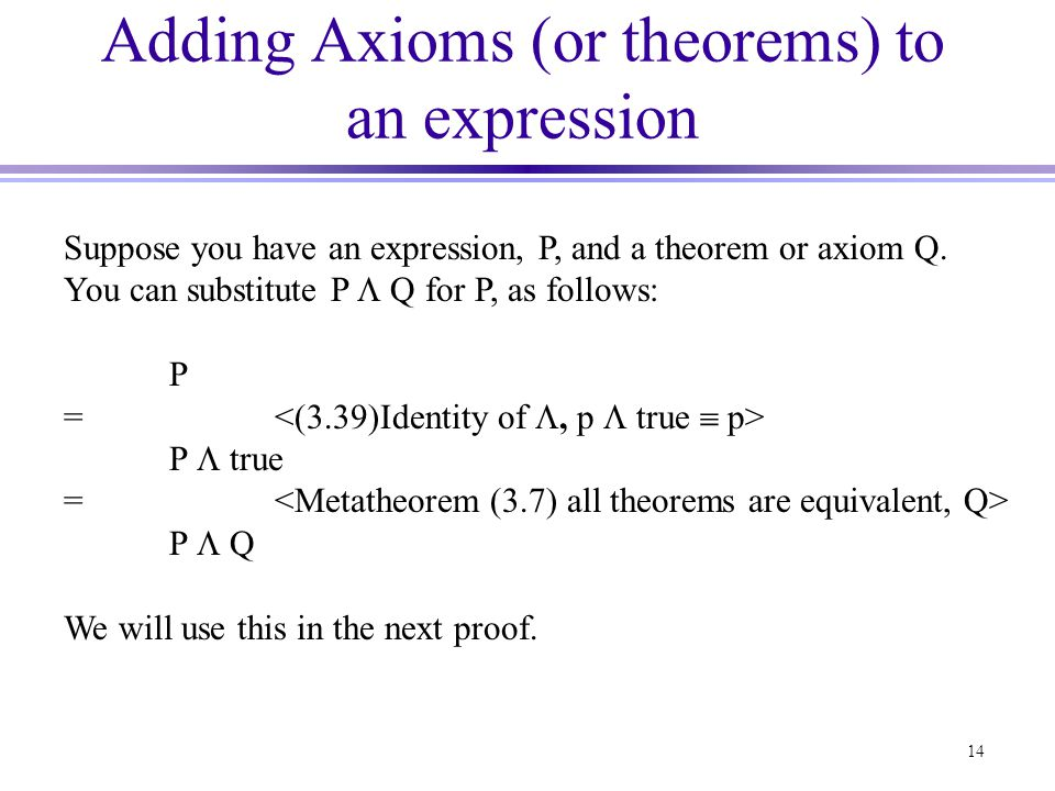 Adding Axioms (or theorems) to an expression