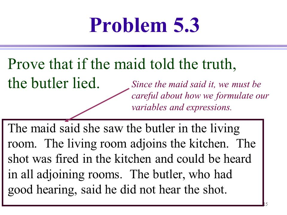 Problem 5.3 Prove that if the maid told the truth, the butler lied.