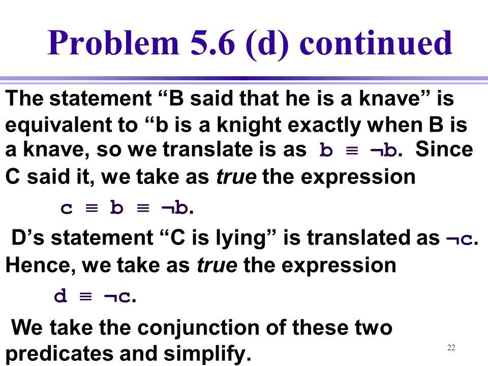 Problem 5.6 (d) continued