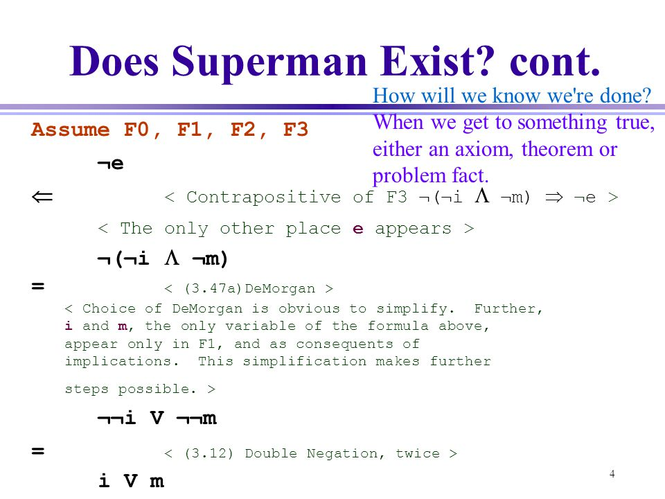 Does Superman Exist cont.