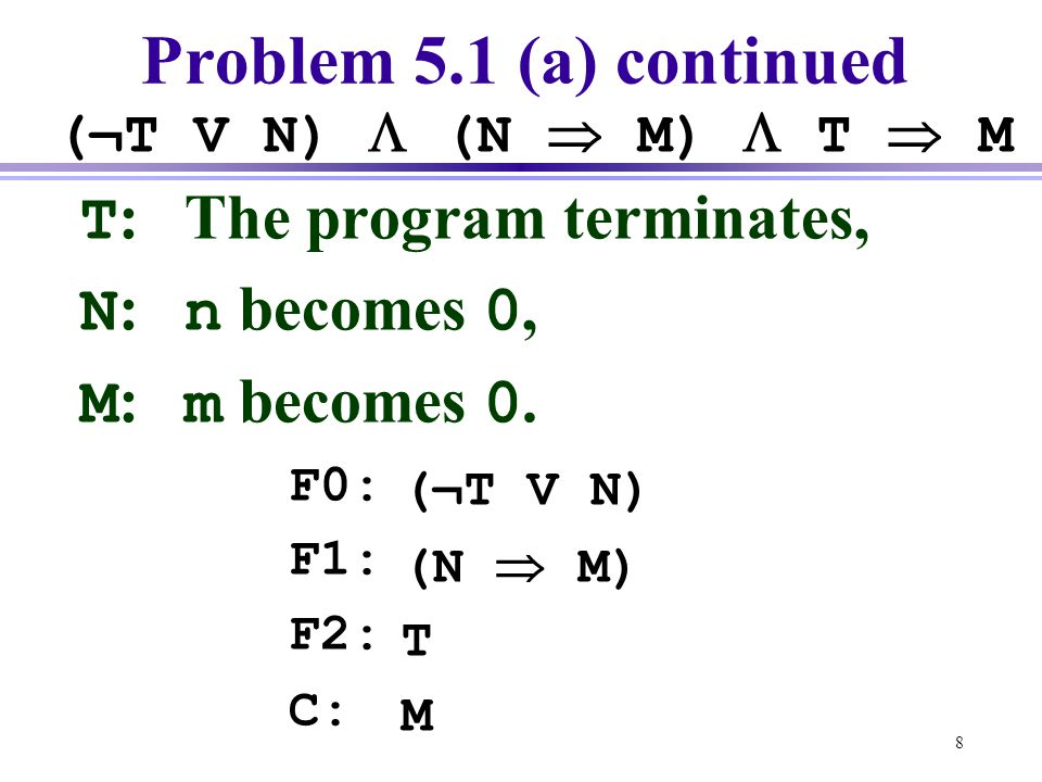 Problem 5.1 (a) continued T: The program terminates, N: n becomes 0,