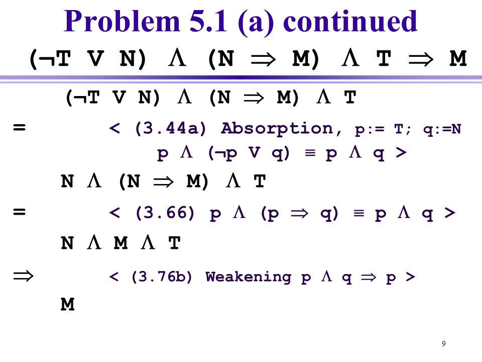 Problem 5.1 (a) continued (¬T V N)  (N  M)  T  M